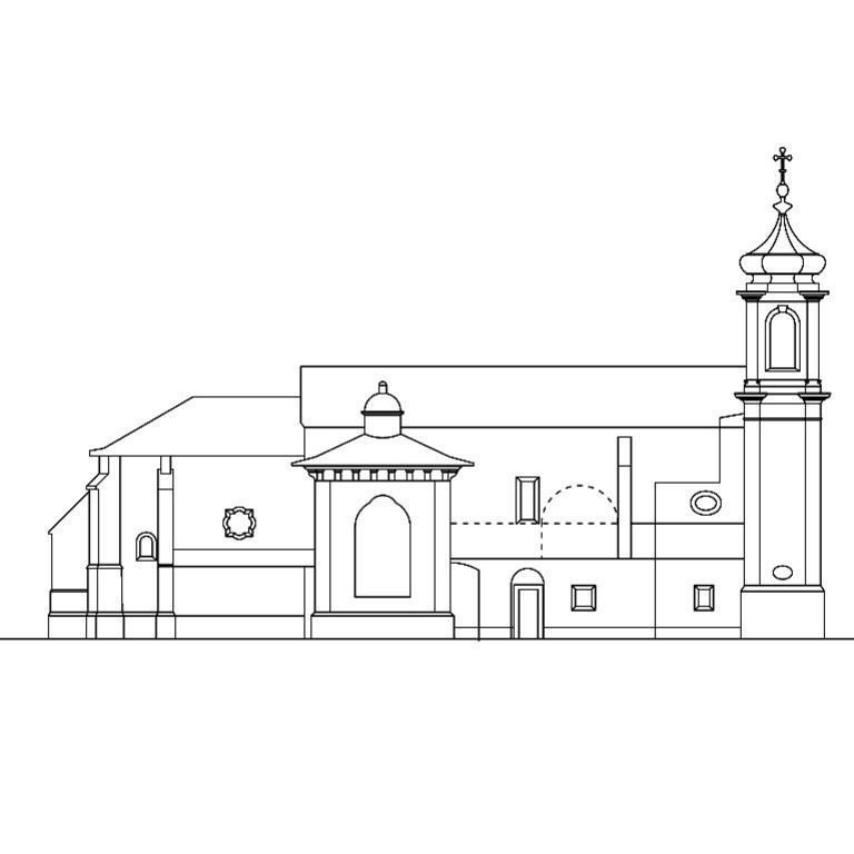 Alçado lateral da igreja