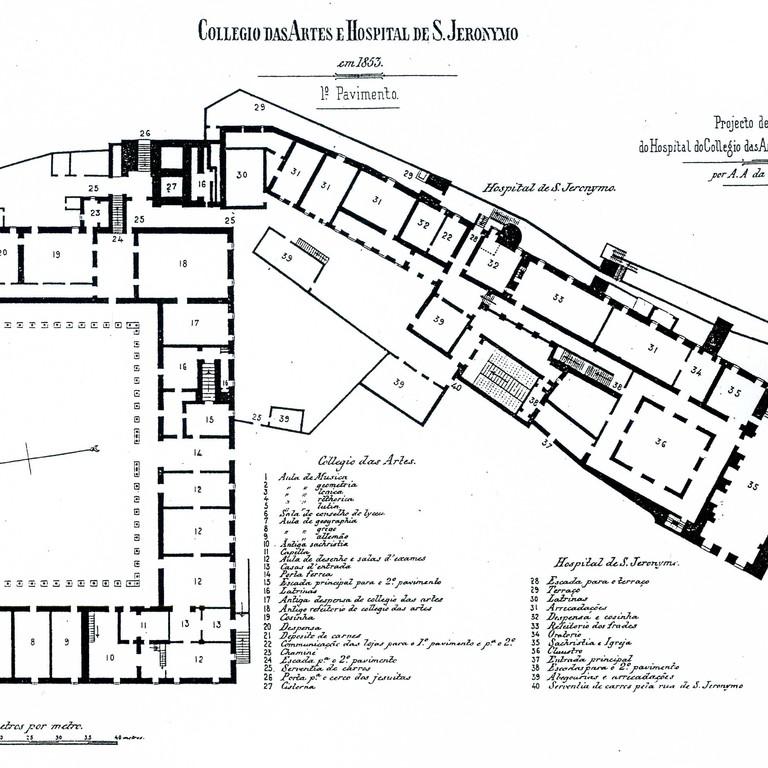 Projecto de Costa Simões, 1853 - planta do rés do chão