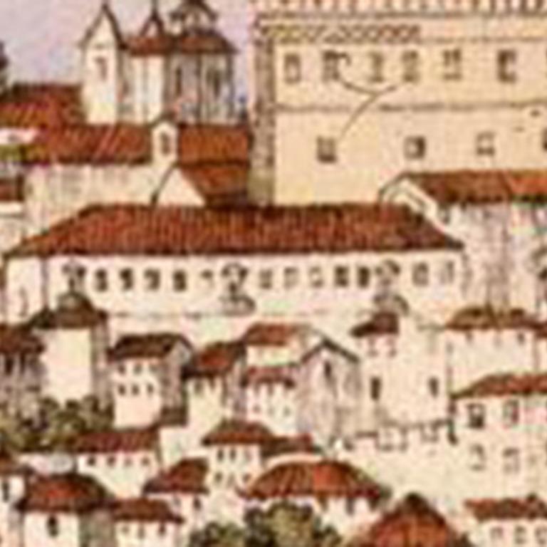 Detalhe da gravura «Cidade de Coimbra» - original de autor desconhecido, 1859