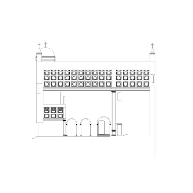 Igreja de S. Jerónimo, corte longitudinal – proposta de interpretação
