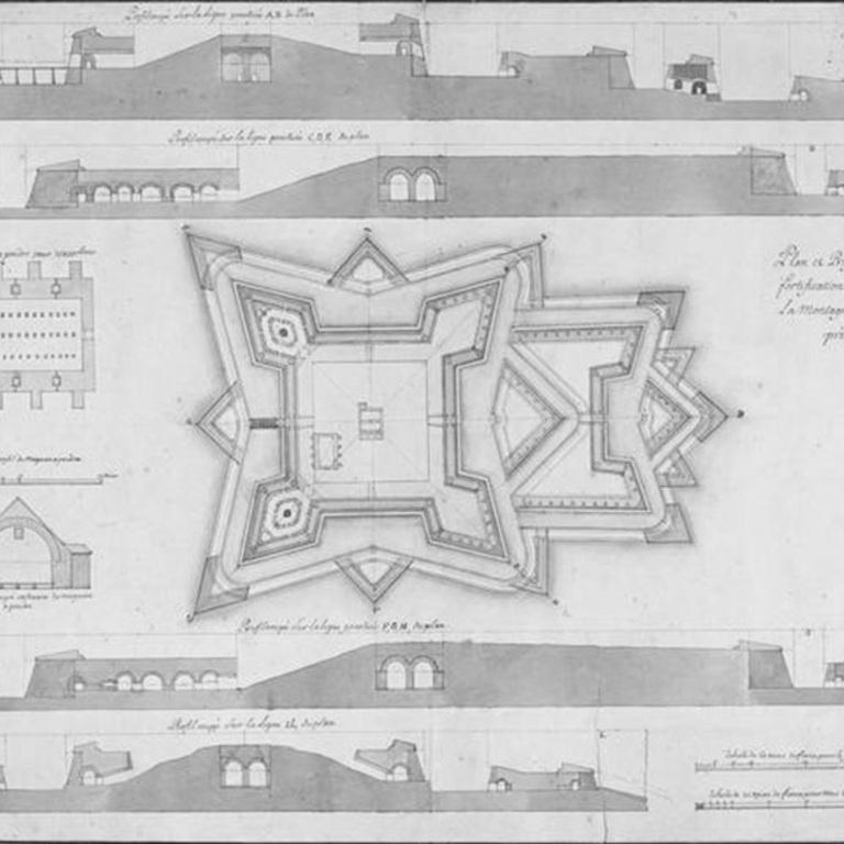 «Plan et profils de l'ouvrage de fortification à construir sur la montagne de N. S. da Grace près d'Elvas», 1690-1A-14-19 DSE CRT/2003