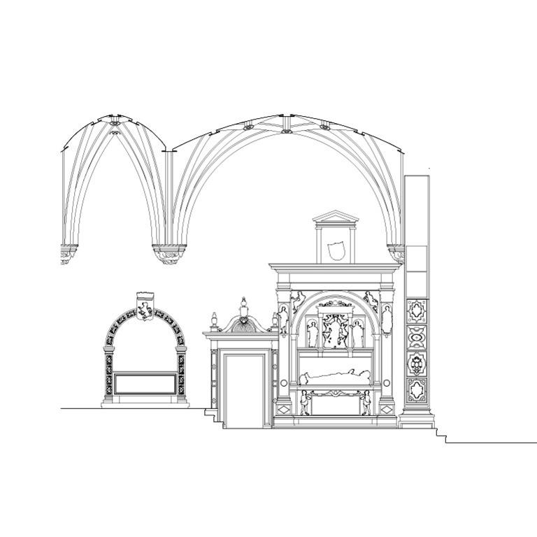 Detalhe das estruturas tumulares da capela-mor