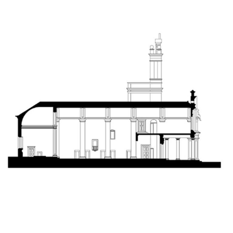 Corte longitudinal pela nave da igreja - situação atual