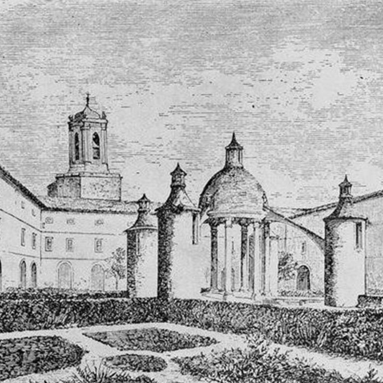 Detalhe do desenho «Claustro da Manga no mosteiro de Santa Cruz», Archivo Pittoresco, Livro VIII, 1865