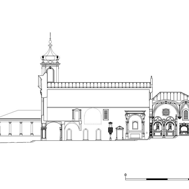 Corte longitudinal pela igreja, apontado a norte