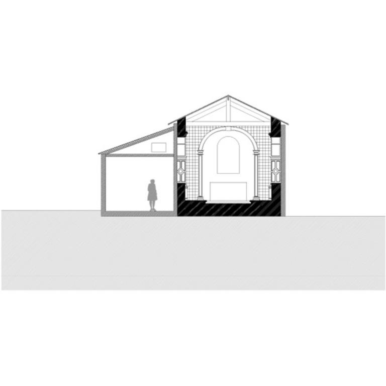 Corte transversal pelo espaço da nave