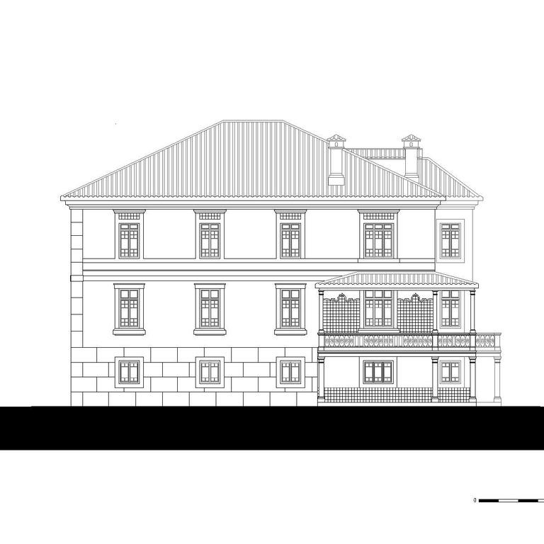 Alçado sul - proposta do edifício original