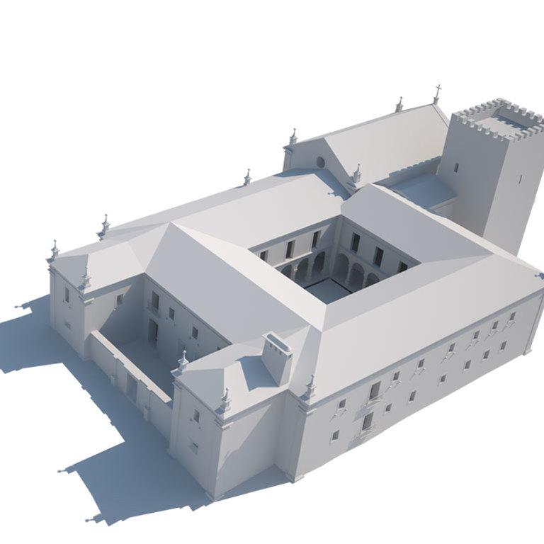 Situação em 1669 (com segunda fachada monástica a poente; igreja provavelmente não construída)