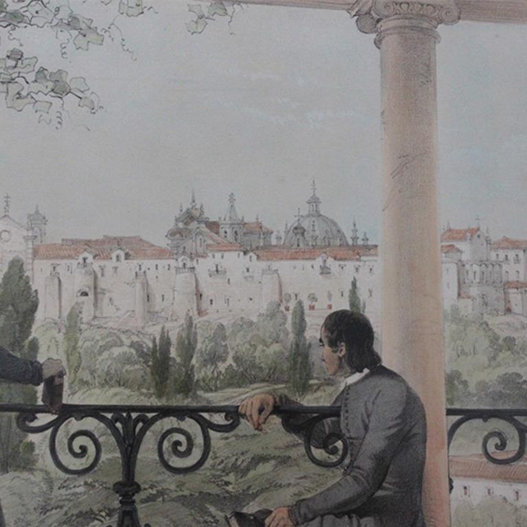 Detalhe da gravura «Looking over the gardens of Santa Cruz», George Vivian, 1839