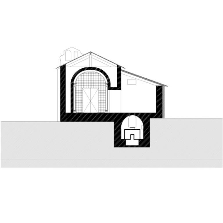 Corte transversal pela capela-mor e cripta
