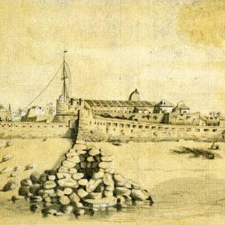 Detalhe de «Margens do Douro - Castello de S. João da Foz» (1848), de Cesário Augusto Pinto