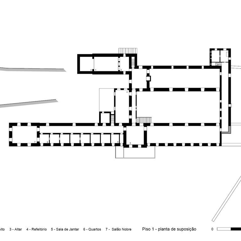 Planta do piso superior - proposta de interpretação