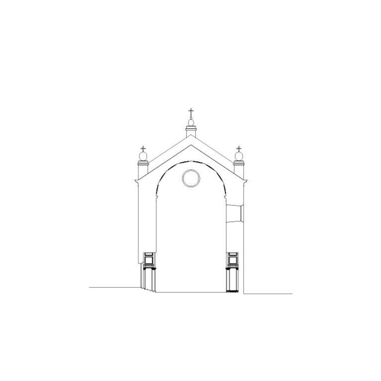 Igreja de S. Jerónimo, corte transversal – proposta de interpretação