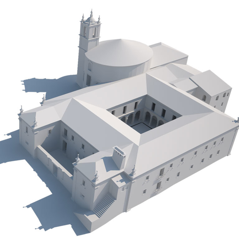 Situação em 1779 (igreja barroca completa, com fachada a poente)
