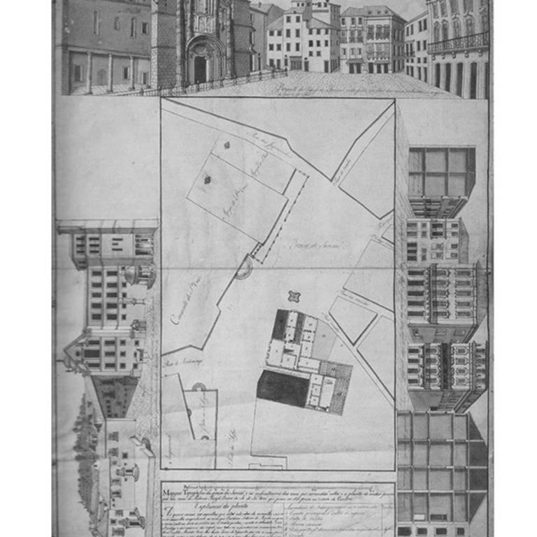 Gravura da «Planta Topográfica da Praça de Sansão e ruas que lá vão dar», de José Carlos Magne, 1796 (MNMC)