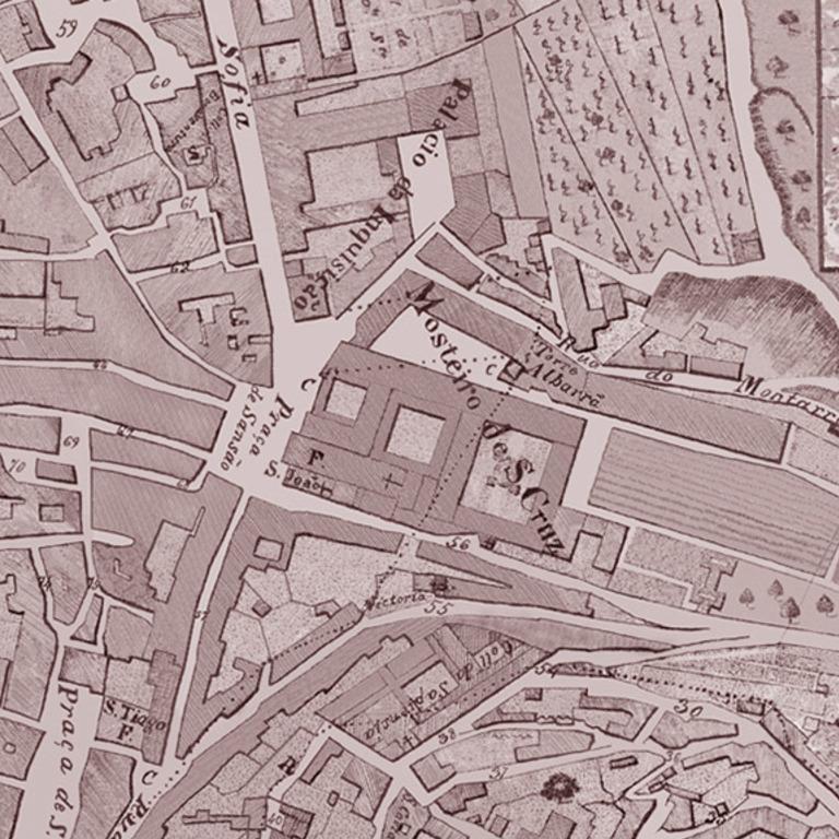 Detalhe da planta topográfica da cidade de Coimbra, de Izidoro Batista, 1845
