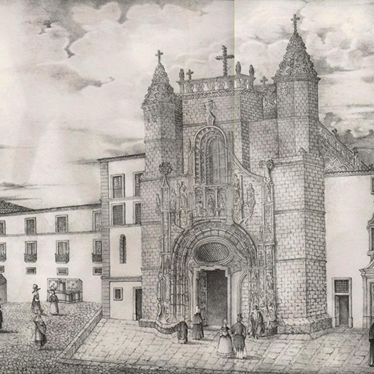 Fachada da Igreja de Santa Cruz - reprodução de uma gravura, Estampas Coimbrãs