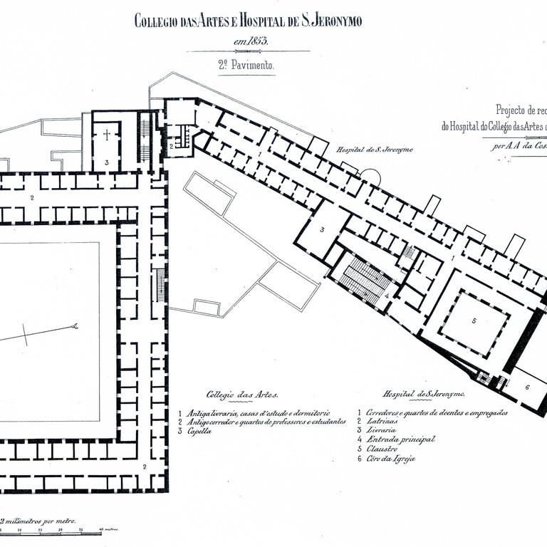 Projecto de Costa Simões, 1853 - planta do 1º andar